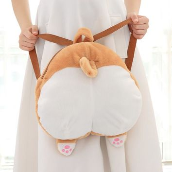 Free shipping Lolita corgi Plush Doll Backpack Shoulder Bag Dog Rucksack ,school bag SUPER QUALITY