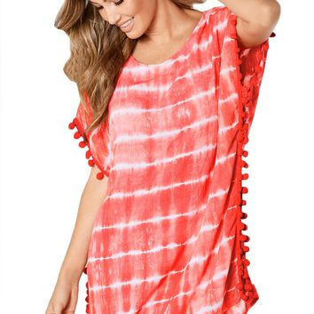 Coral Pom Pom Trim Tie Dye Print Beach Cover Up