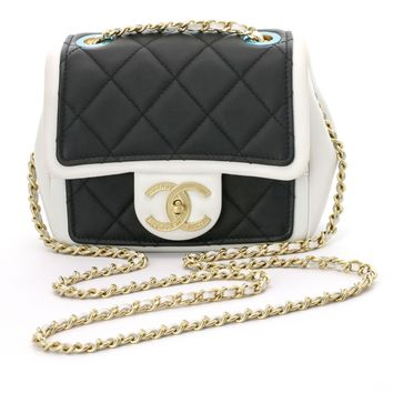 Chanel Black White Cruise Quilted Calfskin Mini Flap Shoulder Bag