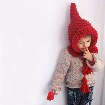 Red Elf Pointed Wool Hat ELFICA Bulky Elfish Kid Knit by Solandia