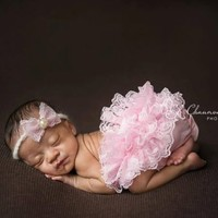 Pink Lace Diaper Cover AND Matching Headband SET, Newborn Photography Prop, Newborn Props, Bloomers, Girl Props