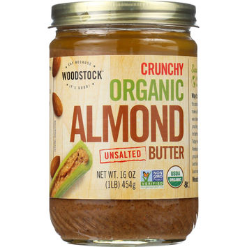 Woodstock Nut Butter - Organic - Almond - Crunchy - Unsalted - 16 Oz - Case Of 12