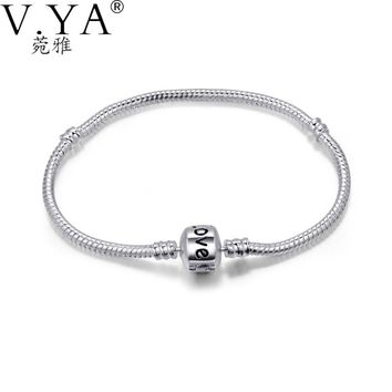 Famous LOVE Letter Snake Bracelets Bangles for Men Women DIY Jewelry fit Beads Charms Woman Man Snake Silver Chain PAC04