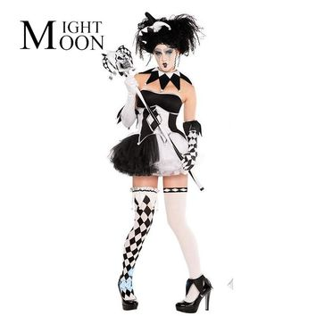 MOONIGHT Halloween Cosplay Costume Female Cosplay Dress Adult Circus Clothes Women Clown Costume Halloween Girl Dress