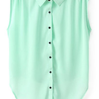 ROMWE Asymmetric Pleated Bowknot Sheer Green Shirt