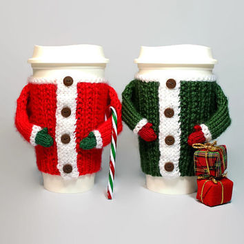 Xmas coffee cozy. Christmas gift under 20. Travel mug cozy. Cup cozy. Stocking stuffer. Secret Santa gift. Coworker gift. Coffee sleeve.