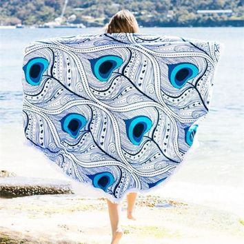 Blue Peacock Feather Eye Beach Towel & Tapestry