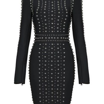 Honey Couture ALEXIS Black Long Sleeve Studded Detail Mini Bandage Dress