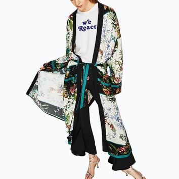 2018 Vintage Floral Loose Long Kimono  Cardigan Autumn Open Side Split Long Shirt Blouse Bow Tie Tops Women Kimonos Blusas
