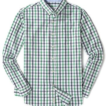 Men's Long Sleeve Cotton Plaid Button Down Casual Shirts Green Large