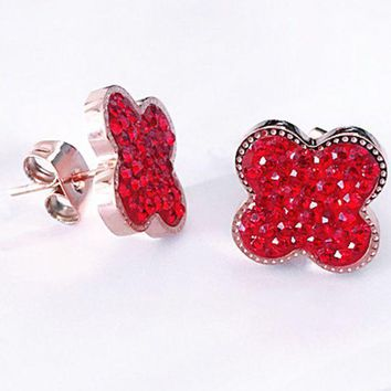 Four Leaf Clover?? Fashionable Red Filled With Round Earring Four Leaf Clover Studs