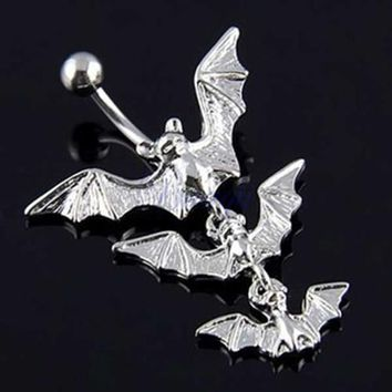 Creative Body Piercing Jewelry Gothic Dangle Bar Belly Flying Bats Navel Ring