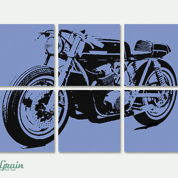 NEW Cafe Racer Motorcycle Wall Art - Vintage Garage Decor in Custom Colors