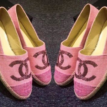 Chanel Ladies Casual Logo All-Match Sequin Weave Canvas Flats Pink Shoes