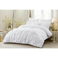 4 PC PINCH PLEAT ALL SEASON SUPER SOFT OVERSIZED COMFORTER SET - WHITE - STYLE 1055
