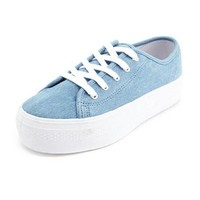 Chambray Lace-Up Platform Sneaker: Charlotte Russe