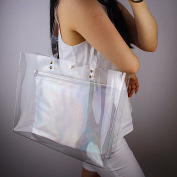 Clear Oversized Extra Large Huge Tote PVC Vinyl Plastic Large Purse Shopper Bag Handbag Clutch Shoulder White Transparent Golden Metalwork