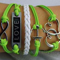 Infinite love bracelet - emerald green wax rope woven bracelet, ancient silver infinite hope, love, anchor,telesthesia lovers bracelet- 045