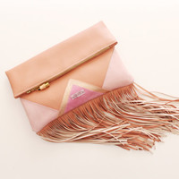 CARRIER 39  / Large leather fringed  fold over daily clutch bag -  Ready to Ship