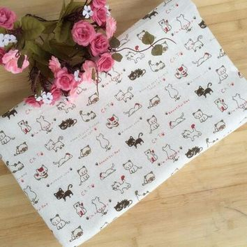 Special Sales! 48*150CM patchwork cat linen fabric for Tissue Kids Bedding textile for Sewing Tilda Doll, DIY handmade materials