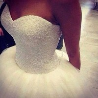 2014 New Custom Made Real Sample Tulle Ball Gown Wedding Dresses Bridal Gown
