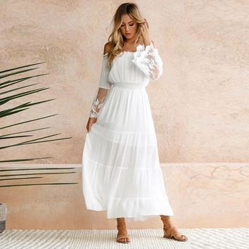 MOONSTRUCK Ivory Lace Flare Sleeve Maxi Dress