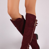 Suede Buckled Zipper Trim Riding Knee High Boots | UrbanOG