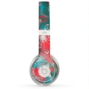 The Blue & Coral Abstract Butterfly Sprout Skin for the Beats by Dre Solo 2 Headphones