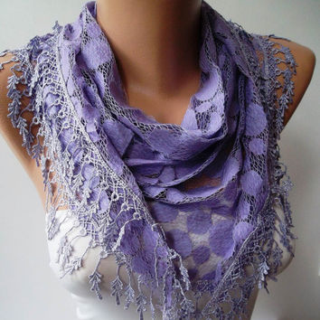 Handmade Purple - Polka Dot Patterned Tulle Scarf with Purple Trim