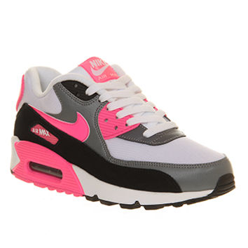Nike Air Max 90 (w) White Hyper Pink Cool Grey - Hers trainers