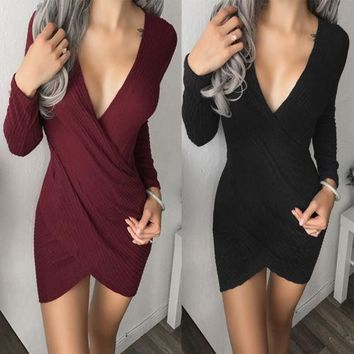 Fashion Womens Ladies Deep V-neck Bodycon Dress Knitted Long Sleeve Cocktail Party Pencil Midi Dress Sexy Sheath Dress Knitwear