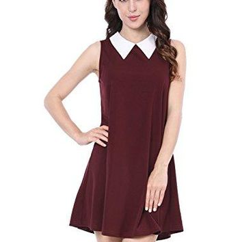 Allegra K Womens Peter Pan Collar Sleeveless Above Knee Swing Dress