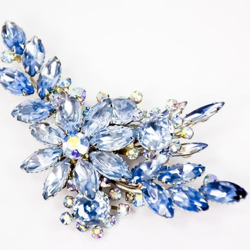 Flower Brooch  - Rhinestone Brooch  - Blue Brooch  - Vintage Brooch  - Gift for her - Mom Gift - Fashionista Gift