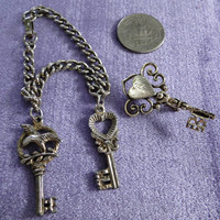 Skeleton Key Jewelry Vintage Bracelet and Brooch Two for Ten Sale Dollar Days Sale