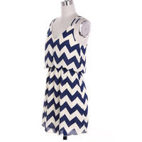 Navy Blue Tank Top Chevron Dress Navy Blue Colorblock Dress Causal Dress Short Dress