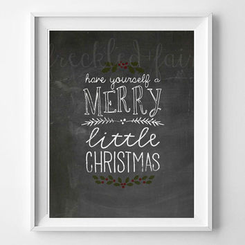 Merry Christmas Chalkboard Christmas Print - Handlettered Calligraphy Christmas Decor