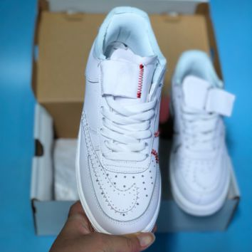 N344 Nike Air Force 1 AF1 simple stitching style low side casual shoes White Red