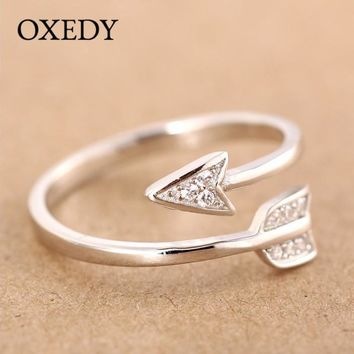 Silver Plated Adjustable Crystal Arrow Ring