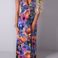 Floral Deep V-Neck Maxi Strap Dress