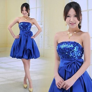 Back to School Short Prom Dresses Sequins Homecoming Ball Gown Puffy Dancing Party Dancing Pary Dress Purple  Blue Gold Red A27