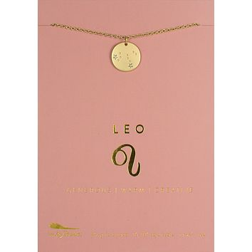 Lucky Feather Leo Zodiac Sign Constellation Necklace
