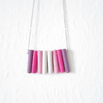 ANDIE Paper Ombre Necklace Pastel Minimalist Purple Pink and White, Tribal Style, Repurposed, Sustainable Jewellery