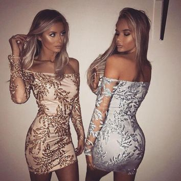 Strapless Sequin Embroidery Long Sleeve Bodycon Mini Dress