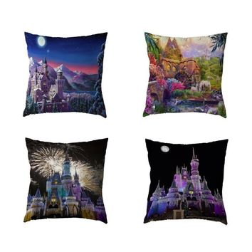 Luxury Cushion Cover 17Inch Fireworks House Pumpkin Moon Blue Sky Cloud Home Bedroom Gift Decor Polyester Peach Skin Pillow Case