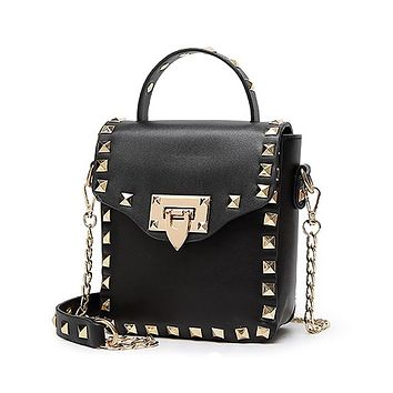 2016 Women Bag Fashion Women Messenger Stud Bags Rivet Chain Shoulder Bag High Quality PU Leather Crossbody Beach Party bags
