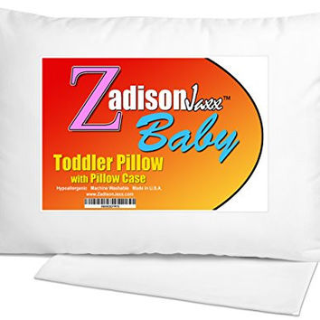 Toddler Pillow WITH PILLOWCASE + FREE BEDTIME STORY EBOOK! - Best Small Pillows for Kids, Babies, or Children! Soft Hypoallergenic - Use For Bed or Travel - 13x18 - Machine Washable - Made in USA!