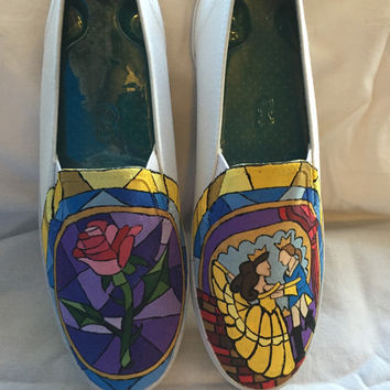 Beauty and the Beast stain glass inspired slip on shoes