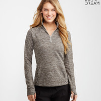 LLD Long Sleeve Streaky Half-Zip Mock Top