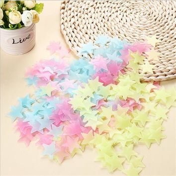 100Pcs DIY Colorful Wall Stickers Luminous Star Sticker Fluorescent Glow In The Dark Baby Kids Bedroom Decal Stars Home Decor