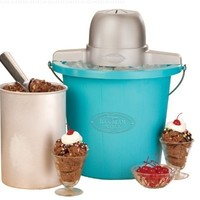 Nostalgia ICMP400BLUE Vintage Series 4-Quart Quick and Easy to Clean Electric Ice Cream Maker